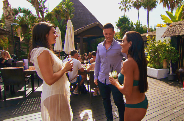 Life On Marbs exes Felicity Faye Kidd and Mark Foster have a disagreement at Danni's pool party - 22 July 2015.