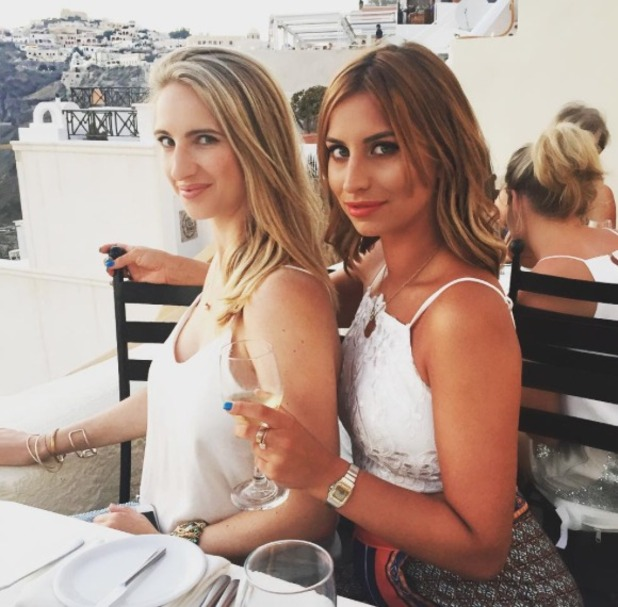Ferne McCann poses with sister Sophie while on holiday in Santorini, 26 July 2015