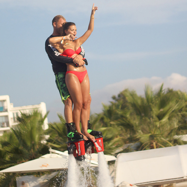 Chloe Lewis dares to go on a jet at Ocean Beach Ibiza, 25 July 2015