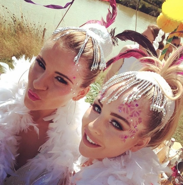 TOWIE's Georgia Kousoulou and Lydia Rose Bright take a selfie of their carnival thrmed make-up, 20th July 2015