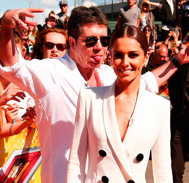 Photo call at The SSE Arena at Wembley for the London auditions of The X Factor 2015 Cheryl Fernandez-Versini and Simon Cowell 19 July 2015