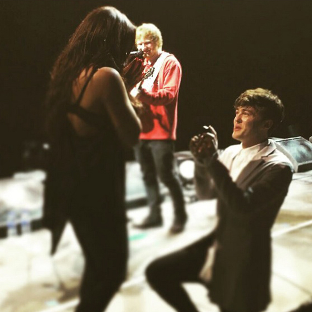 Jake Roche proposes to Jesy Nelson Manchester Arena 19 July 2015