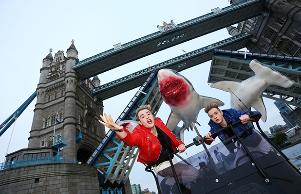 Jedward get chased by sharks down the Thames for Sharknado 3: Oh Hell No!