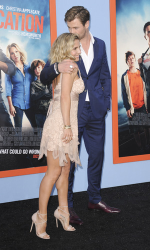 Brothers Chris Hemsworth and wife Elsa Pataky at the Vacation premiere - Los Angeles. 28 July 2015.
