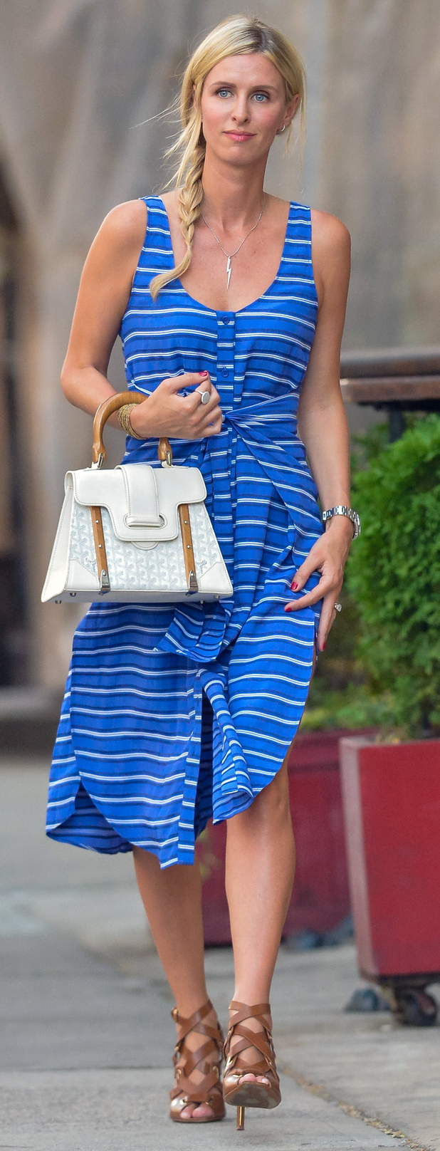 Nicky Hilton out and about in New York City wearing nautical inspired dress, 30th July 2015
