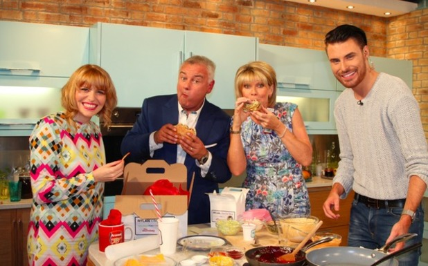 Rylan Clark does a cookery segment on This Morning to recreate his MasterChef meal - 27 July 2015.