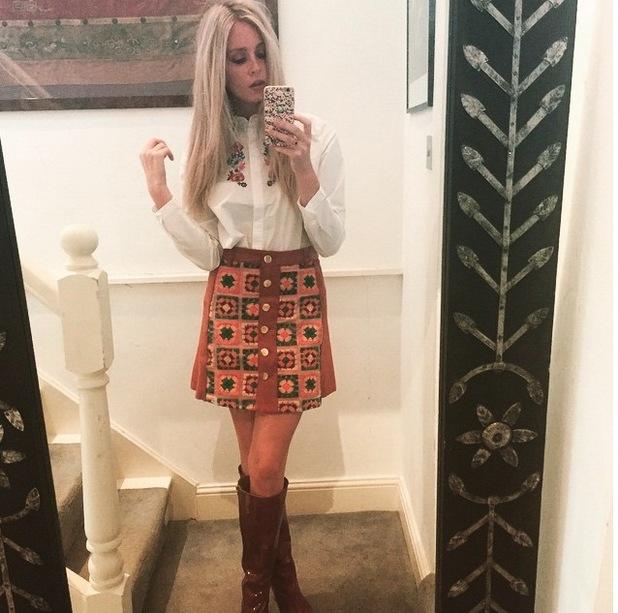 Diana Vickers posts selfie to Instagram wearing Sister Jane skirt, 30th July 2015