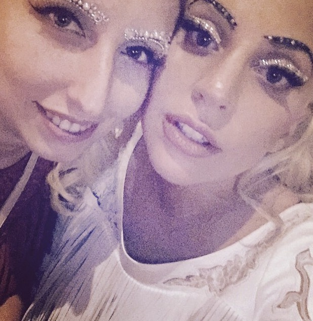 Lady GaGa shows off amazing temporary glitter eye and brow tattoos, 29July 2015