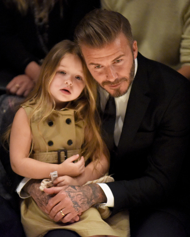 Harper Beckham and David Beckham attend the Burberry 'London in Los Angeles' event at Griffith Observatory on April 16, 2015 in Los Angeles, California.