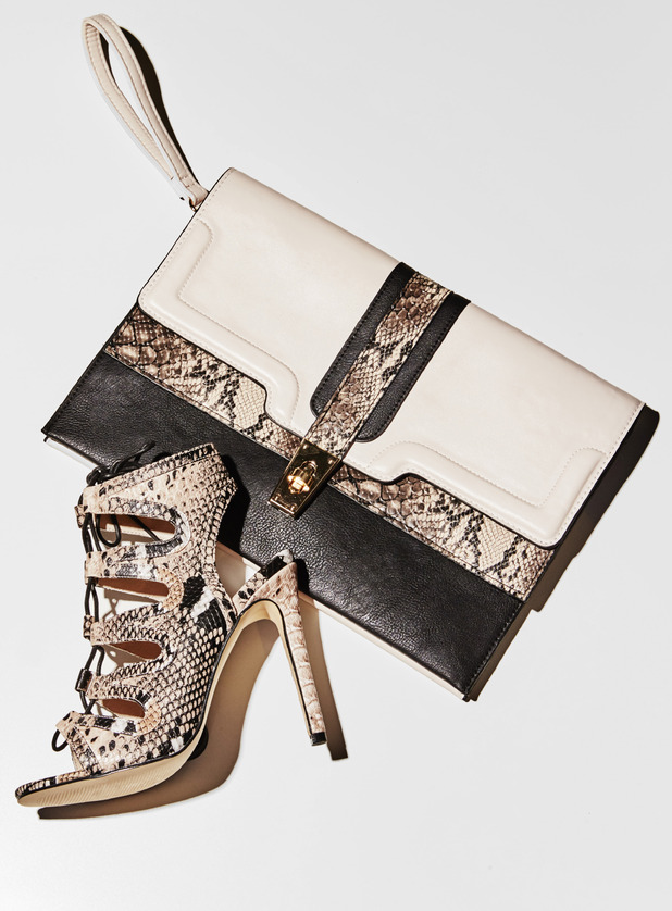 Abbey Clancy for Matalan, snake effect heels £32 and clutch bag £15, 29th July 2015