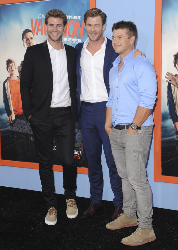 Brothers Liam Hemswroth, Chris Hemsworth and Luke Hemsworth at the Vacation premiere - Los Angeles. 28 July 2015.