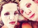 Rita Ora shares sheet mask selfie on Instagram 30th July 2015