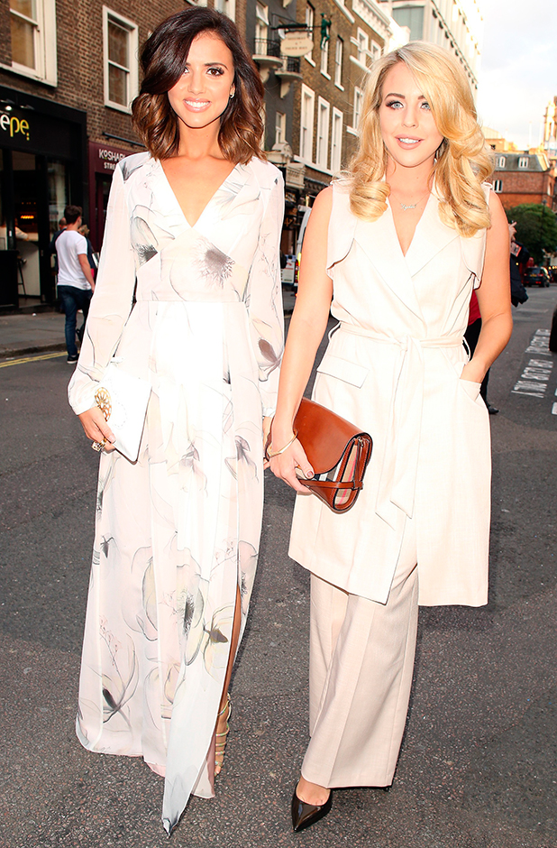 Lucy Mecklenburgh and Lydia Bright attending the Impossible press night at the Noel Coward Theatre on July 30, 2015 in London, England. (Photo by Mark Robert Milan/GC Images)