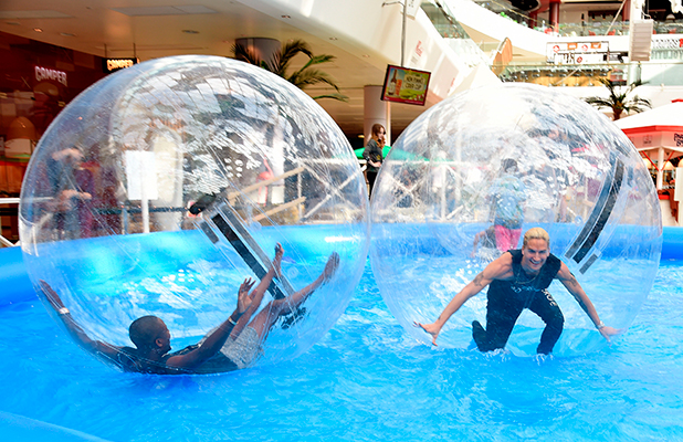 Launch of Westfield London's Water Zorbing experience, London, Britain - 28 Jul 2015 Vas J Morgan, Lauren Pope, Oliver Proudlock and Rosie Fortescue