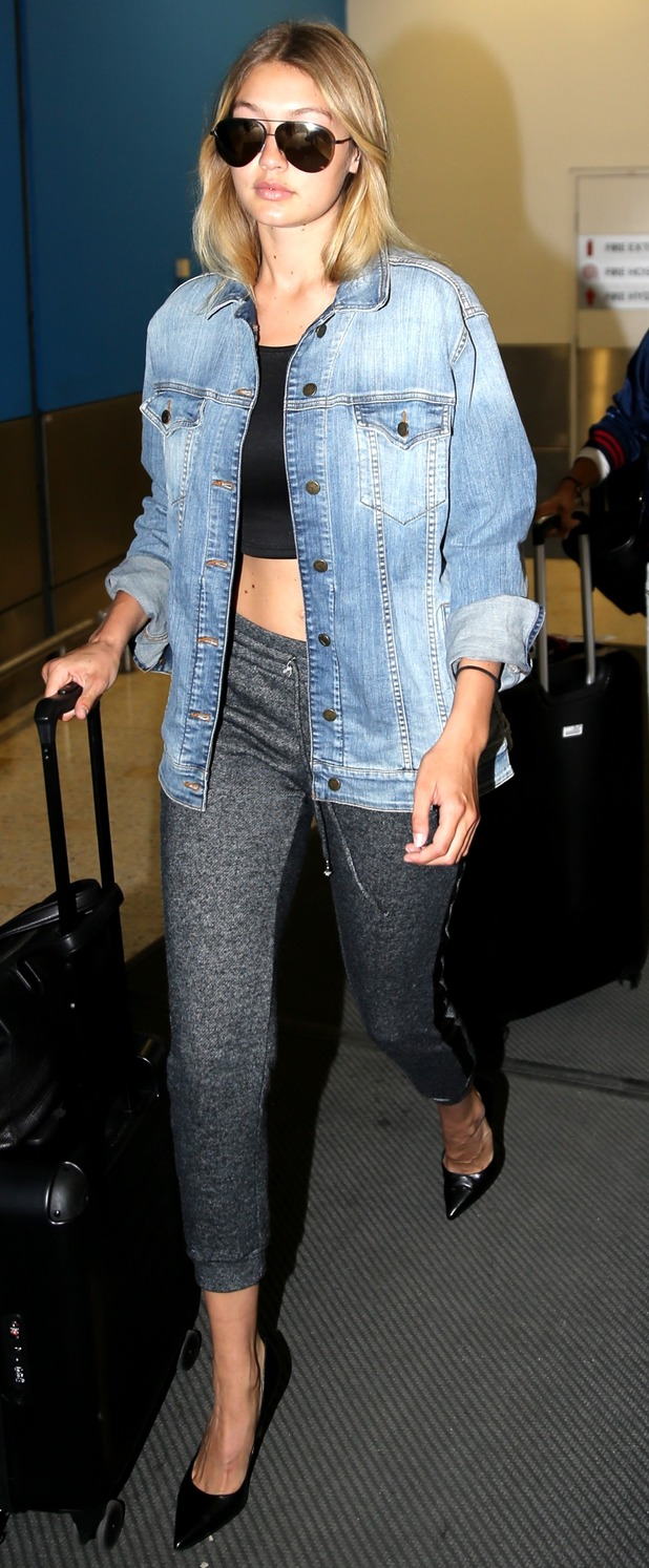 Gigi Hadid lands at Sydney Airport, Australia to promote Guess campaign 4th August 2015