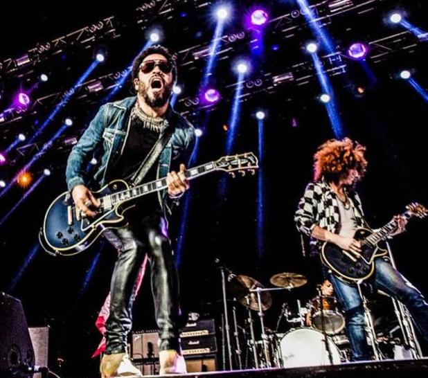 Lenny Kravitz splits trousers while performing in Stockholm - 3 August 2015.