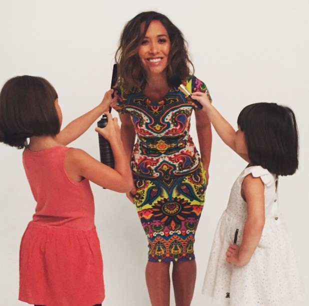 Myleene Klass and her two daughters on the Littlewoods filming set, 3rd August 2015