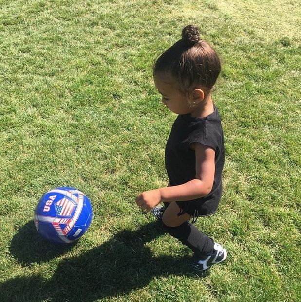 Kim Kardashian West shares photos of North West playing soccer on Instagram, 1st August 2015