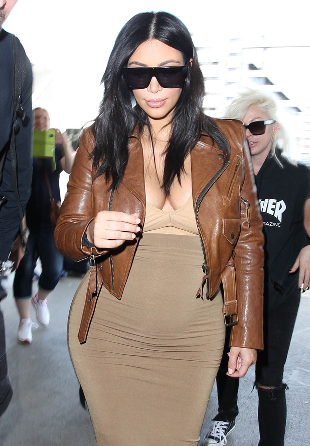 Kim Kardashian is seen at LAX airport on August 03, 2015 in Los Angeles, California.