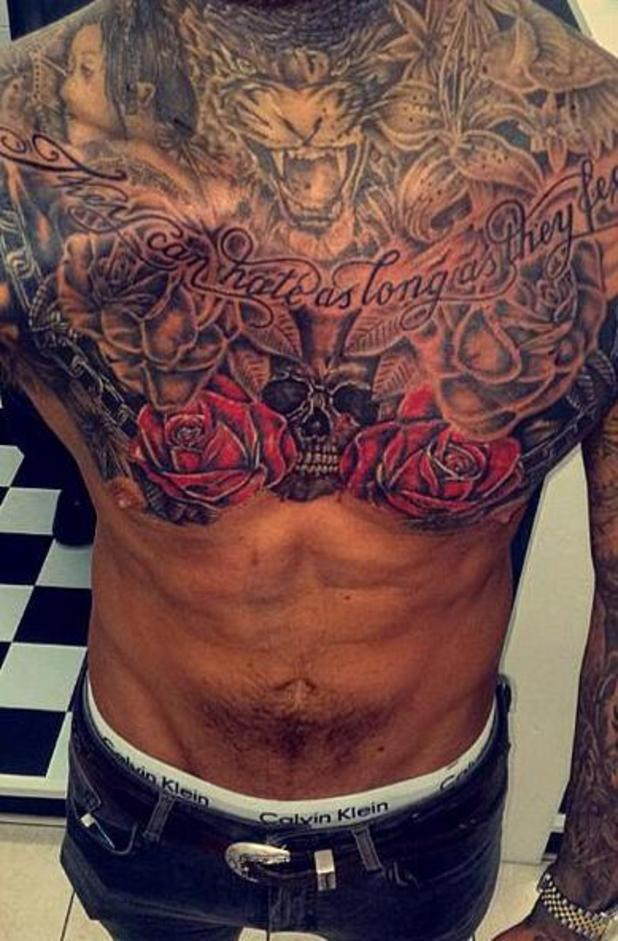 TOWIE's Peter Wicks shows off his tattoos - 5 August 2015.