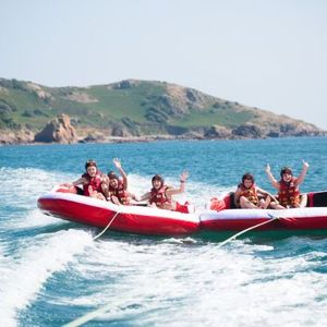 Inflatable boat rides at St Brelade's Bay, Jersey