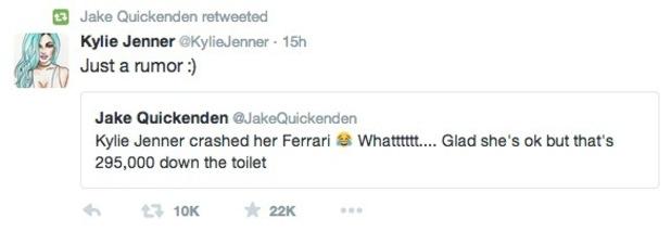Kylie Jenner tweets Jake Quickenden 11 August