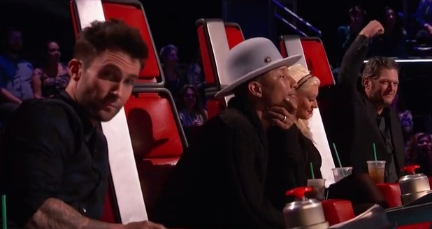 The Voice USA coaches for series eight, Christina Aguilera, Pharrell Williams, Adam Levine, Blake Shelton