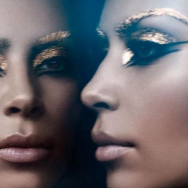 Kim Kardashian stars in Cleopatra inspired shoot for The Violet Files, gold eyebrows image 13th August 2015
