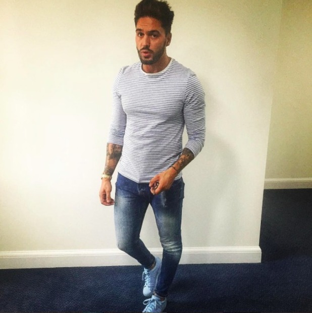 Mario Falcone dresses in all blue for night out.