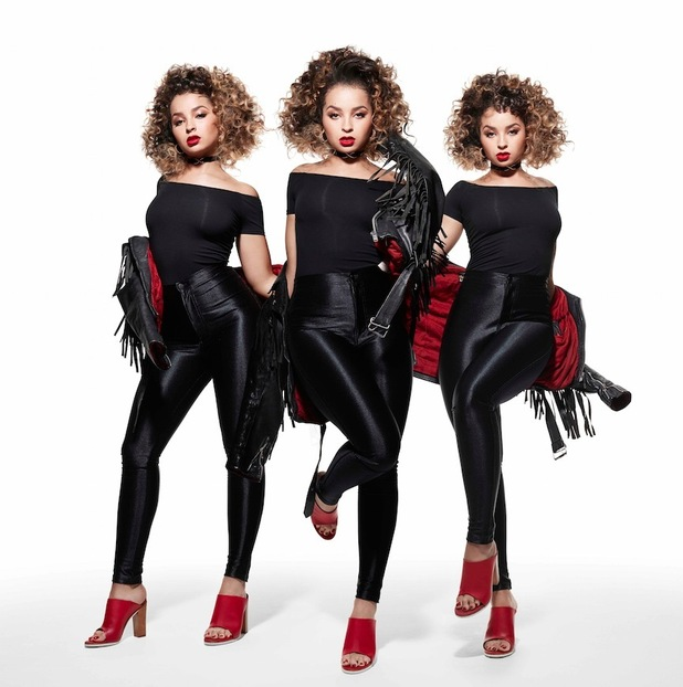 Ella Eyre becomes Sandy from Grease on Sure shoot, trio image with fringed jacket 12th August 2015