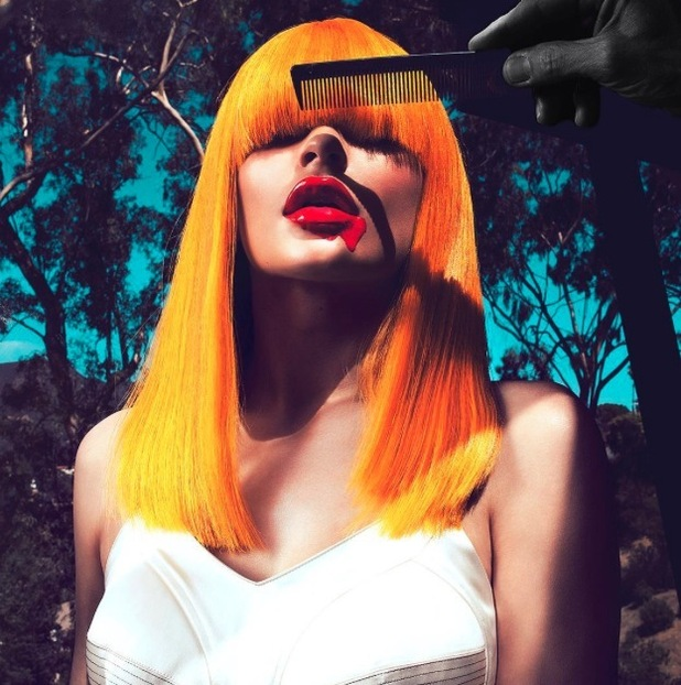 Kylie Jenner poses for photo-shoot in tangerine hued wig, 11th August 2015