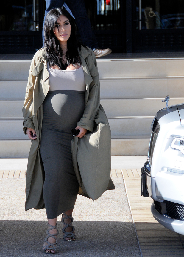 Pregnant Kim Kardashian is seen on August 10, 2015 in Los Angeles, California.