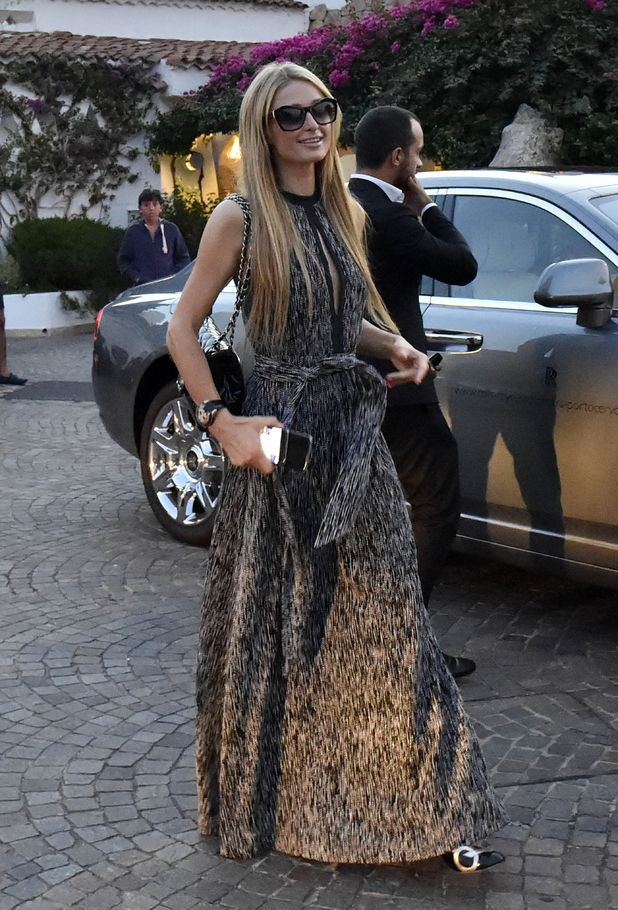 Paris Hilton arriving at the Grand Hotel Poltu Quatu, Sardinia, Italy - 12 Aug 2015