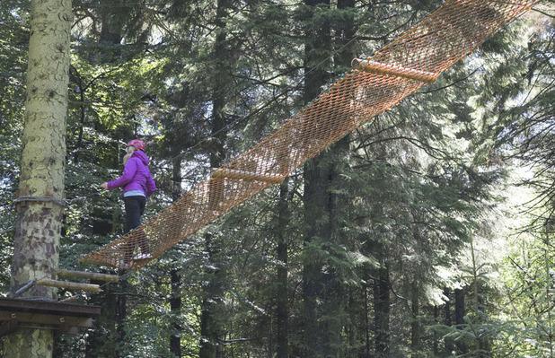 On the rope bridge at Ape Mann Adventure