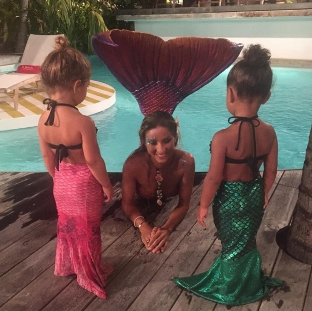 North West and Penelope Disick as mermaids 18 August 2015