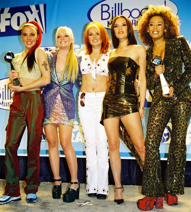 The Spice Girls (L-R) Melanie Chisholm, Emma Bunton, Geri Halliwell, Victoria Beckham, Melanie Brown 1997 Billboard Music Awards held at the MGM Grand Las Vegas, Nevada - 08.12.97