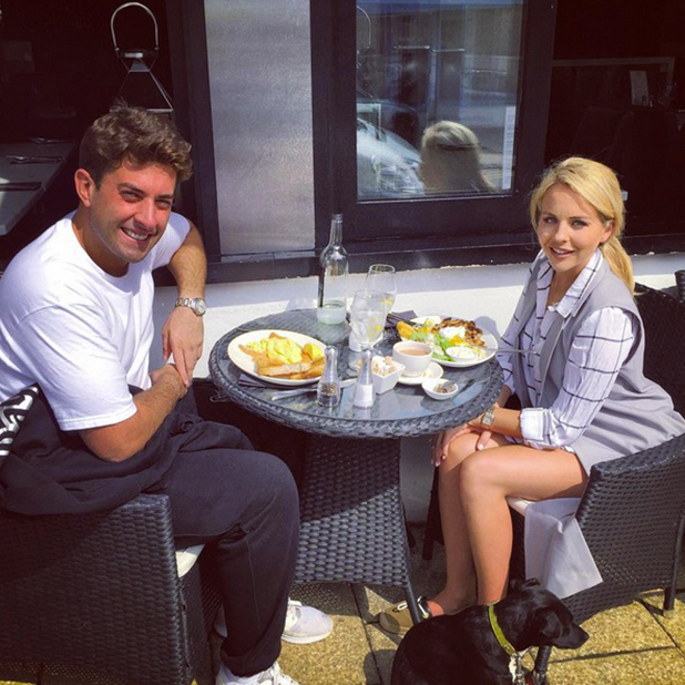 TOWIE's Lydia and Arg enjoy lunch at Catch Fish Restaurant in Essex 20 August 2015