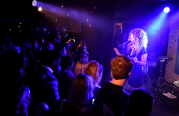 Singer Ella Eyre onstage, partnered with leading antiperspirant Sure, during the the world's first movement activated performance, where the more the audience moved, the more spectacular and energised Ella's set became, at the Century Club on August 19, 2015 in London, England. (Photo by Dave Benett/Getty Images for Sure)