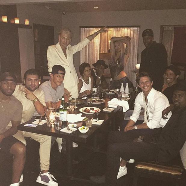 Jake Hall has a birthday dinner in Las Vegas 20 August 2015