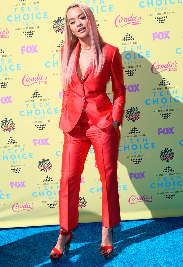 Rita Ora during the Teen Choice Awards 2015 at the USC Galen Center on August 16, 2015 in Los Angeles, California.