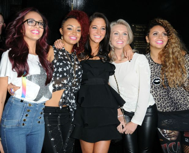Jade Thirlwall, Leigh-Anne Pinnock, Perrie Edwards and Jesy Nelson of Little Mix with X Factor judge Tulisa Contostavlos X Factor finalists enjoy a night out at Whisky Mist Nightclub London, England - 23.10.11