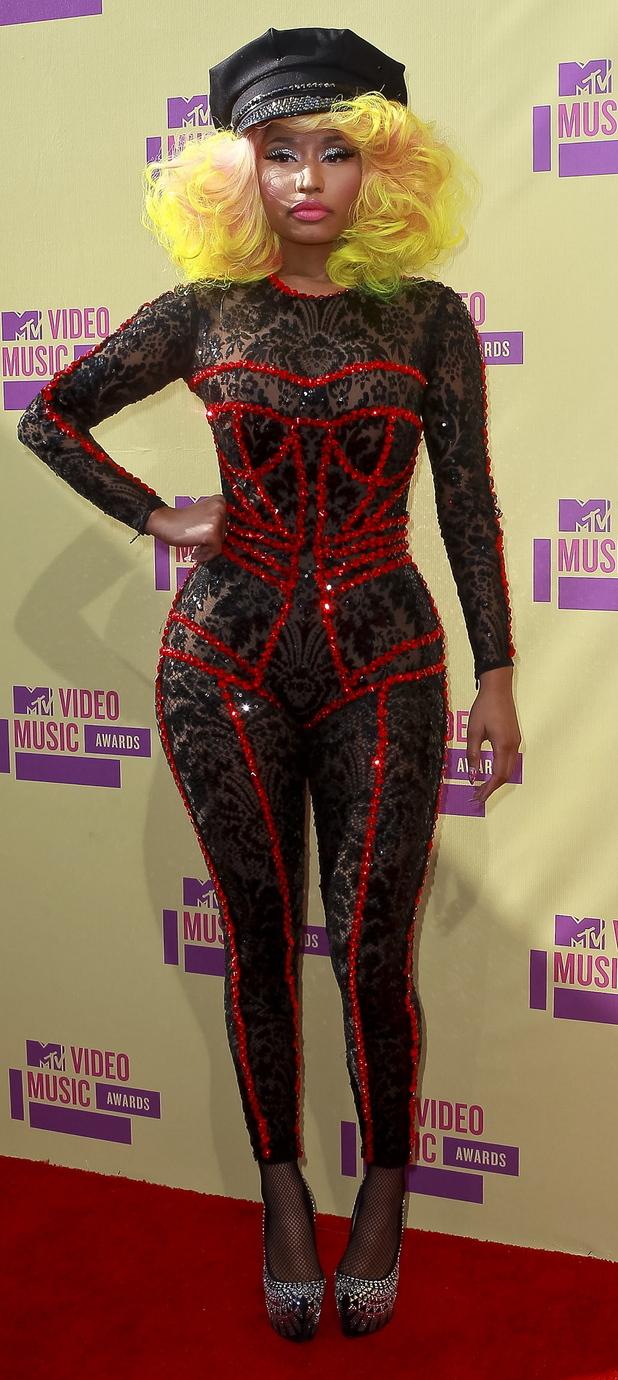 Nicki Minaj at the 2012 MTV VMA's wearing corset jumpsuit, 28th August 2015