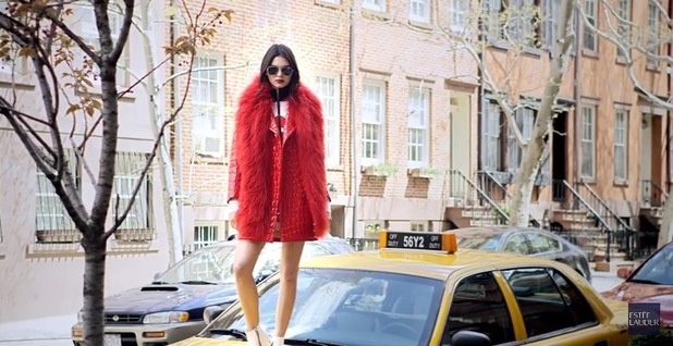 Kendall Jenner appears in Estee Lauder Modern Muse Le Rouge fragrance campaign video, wearing fur stole 25th August 2015