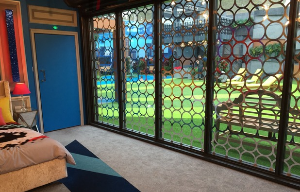 Reveal tour the Celebrity Big Brother house - Bedroom view of the garden - 24 August 2015.
