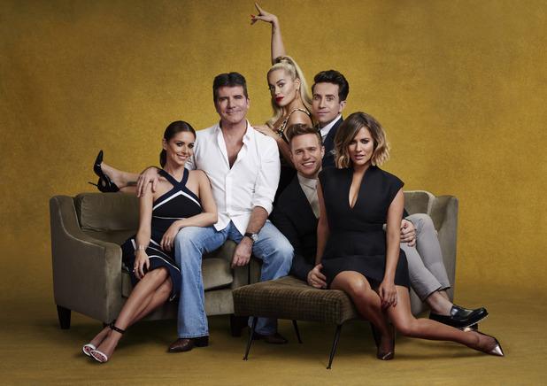 The X Factor, Cheryl, Simon, Rita, Nick, Olly, Caroline, 2015 cast shot, Sat 29 Aug