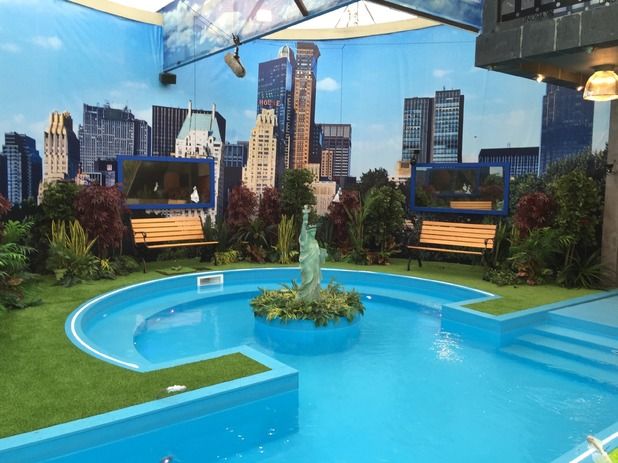 Reveal tour the Celebrity Big Brother house - Garden / pool - 24 August 2015.