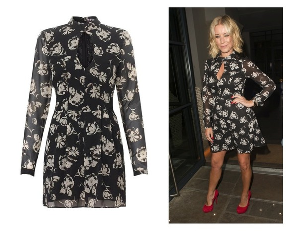 Denise van Outen seen leaving the Ham Yard hotel after beauty product launch in a Lipsy dress, 27th August 2015
