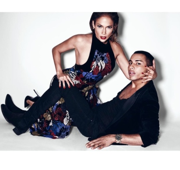 Jennifer Lopez and Oliver Rousteing pose on floor for Paper Magazine shoot, 27th August 2015