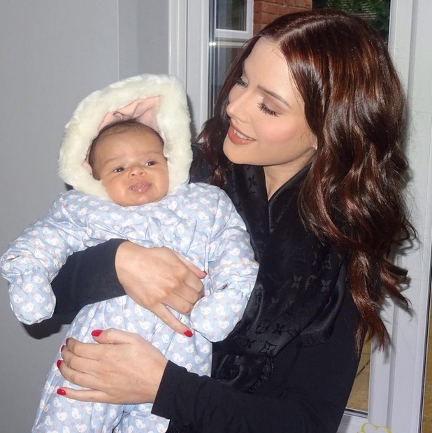 Helen Flanagan holds two-month-old daughter Matilda, 26th August