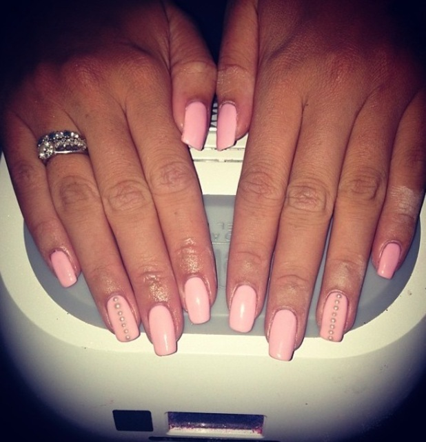 Kirsty Morgan Beauty, pink studded manicure 25th August 2015